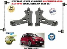 FOR FIAT 500L 2013-> 2X FRONT WISHBONE SUSPENSION ARMS + STABILISER LINK BAR SET