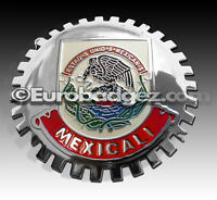 1- NEW Chrome Front Grill Badge Mexican Flag Spanish MEXICO MEDALLION MEXICALI