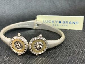 LUCKY BRAND Two-Tone Rotating Pave' Bead Hinged Bangle Cuff Bracelet NWT $45