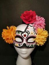 Mardi-Gras Sugar Skull Asym Half Mask Venetian Masquerade Women Crystal Sequin