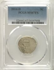 PCGS MS67 FS 2014-D Jefferson Nickel 5C Gem Uncirculated Full Steps