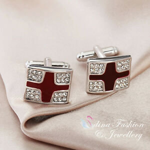 18K White Gold Plated Simulated Diamond & Opal Crossover Men`s Cufflinks