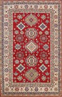 Geometric Vegetable Dye Super Kazak Oriental Area Rug Hand-knotted Wool RED 7x9
