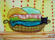 """Giclee Print 5x7"""" black cat laundry basket clothes limited edition by L Kohler"""