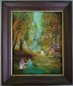 Landscape Oil Painting Mother & Children in Woods at Stream
