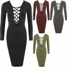 V-Neck Lace Up Long Sleeve Dresses for Women