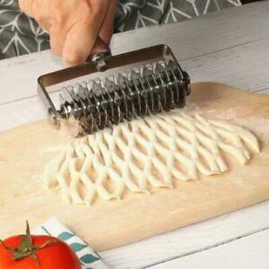 Stainless Steel Pizza Pastry Lattice Wheel Roller Cutter Dough Embossing Tools