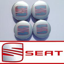 SEAT SILVER ALLOY WHEEL CENTRE HUB CAPS IBIZA LEON CORDOBA ALTEA ALHAMBRA  62mm