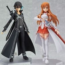2pcs Set Sword Art Online SAO Asuna Kirito Action Figure Figma Anime Toys Gift