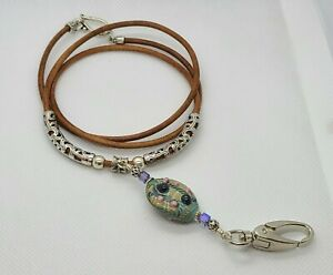 Lampwork Art Glass & Brown Leather Cord ID Badge Holder Necklace Tibetan Silver