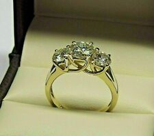 2.50Ct  Solitaire 3 Stone Real Moissanite Engagement Ring Solid 14k Yellow Gold