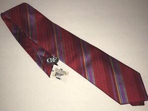 Daniel De Fasson Mens Neck Tie Silk Red Striped Handmade New