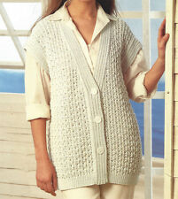 LADIES ARAN WAISTCOAT KNITTING PATTERN 30 TO 44 INCH BUST BY EMAIL (17)