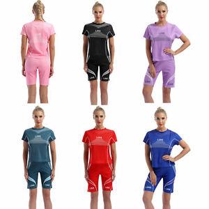Women Stertchy Sport Suit Round Neck Short Sleeve Letter Print T-shirt Shorts