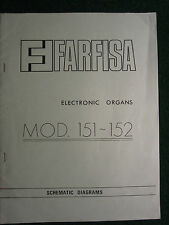 Farfisa Electronic Organ Model 151 152 Schematic Diagram Manual