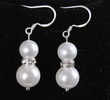 8-10mm White Akoya Shell Pearl Round Beads Silver Hook Dangle Earrings AAA+
