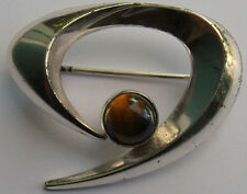 VINTAGE SIGNED SCANDINAVIAN MODERNIST STERLING SILVER TIGEREYE PIN