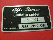 Targhetta dati ALFA ROMEO GIULIETTA SPIDER (Tipo 10103)