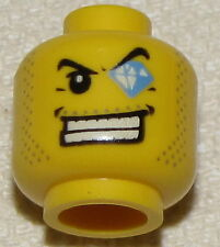 LEGO NEW MINIFIGURE HEAD WITH JEWEL IN EYE THEIF AGENTS POLICE MINIFIG FACE