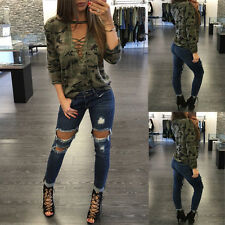 Women Lace Up Deep V-neck Tie Front Long Sleeve Camouflage Blouse Top T-Shirt