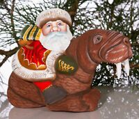 "Carved Wooden Santa Claus Figurine 6"" Hand painted Father Frost"
