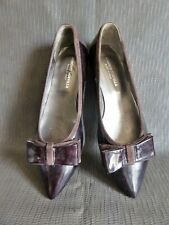 Roberto DURVILLE ballerines Bouts pointus cuir vernis marron T 39  made italy