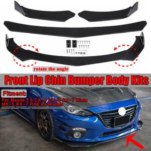 Glossy Black Car Front Bumper Lip Spoiler kit For Mazda 3 6 CX 5 7 Miata MX RX 8