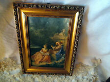 CADRE BOIS DORE OEUVRE SCENE GALANTE SOIE  FRAME SILK PICTURE GOLDEN WOOD