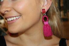 Oscar de la Renta Authentic PINK Short Silk Tassel Earrings STUNNING