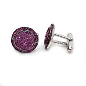 14K White Gold Natural Ruby Gem Stone Men's Cufflinks Jewelry