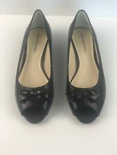 Giovanna Womens Black leather Shoes Flats Open Toe Size 71/2 New