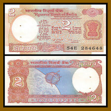 India 2 Rupees, ND 1976 P-79 Satellite Unc with Pinholes