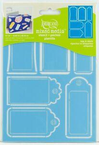 """DecoArt Americana Painting Stencil Laser Cut 6""""x8"""" Tags & Labels ASMM23"""