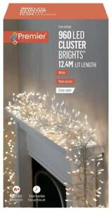 960 LED White Cluster Xmas Lights Multi Action with Clear Cable & Timer 22m