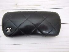 Authentic CHANEL Black Quilted Hardshell Eye Glass/Sun Glass Leather Logo Case