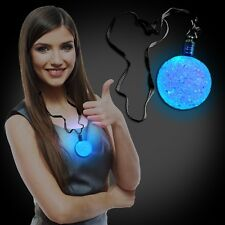LED LIGHT UP FLASHING CRYSTAL BALL BLACK LANYARD NECKLACE RAVE PARTY FAVOR DISCO