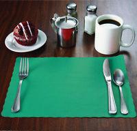 "100 Raise® Teal Paper Placemats, Scalloped Edge, 10""x14"" place mats, Disposable"