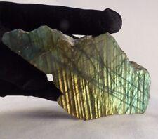 'AA' Grade Gold and Green Flash Half Polished Labradorite Piece - 110mm, 195g