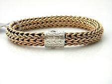 John Hardy Mens Classic Chain Woven Bronze Bracelet Sterling Silver Clasp NWT