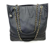CHANEL Jumbo Leather Canvas Gold Chains Tote Shopper Purse Handbag Shoulder Bag