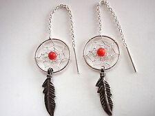 Red Coral Dream Catcher Threader Earrings 925 Sterling Silver Corona Sun Jewelry