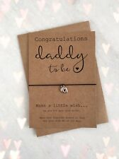 Daddy Dad To Be Pregnancy Congratulations Charm Wish Bracelet Baby Shower Gift