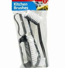 4pc Assorted Sizes Kitchen Brushes Durable Washing Cleaning Scrubbing Tough Work