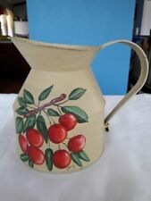 Beautiful Hand Painted Tin Pitcher Signed KAY