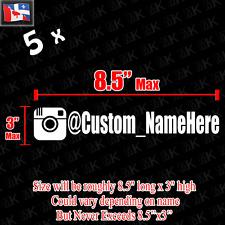 (5x) Custom INSTAGRAM Name Vinyl Decal Sticker | JDM ,EURO, HONDA ,YOURNAME ,