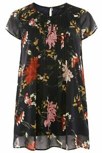 LADIES CHIFFON PINTUCK TOP NAVY FLORAL NEW (ref 312) SALE