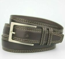 "Dark Brown Double Edge Sticking Leather Belt Fits 34""-38"" Pant size"