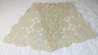 Vintage Dresser Scarf, Hand Crocheted, Flower Design, Light Beige, Cotton