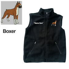 Boxer Dog Fleece Vest with Zippers Personal Name Stitched Monogrammed