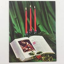 1967 Vintage Used Christmas Greeting Card Mid Century Bible w/ Candles